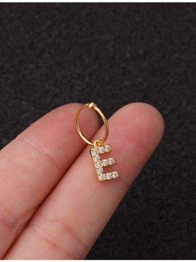 Brass Cubic Zirconia Letter Cute Hook Earring