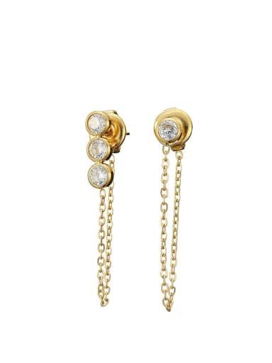 golden Stainless steel Cubic Zirconia Tassel Dainty Stud Earring