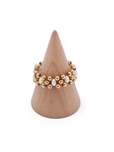 1 gold (size 7 only) Brass Imitation Pearl Geometric Hip Hop Band Ring