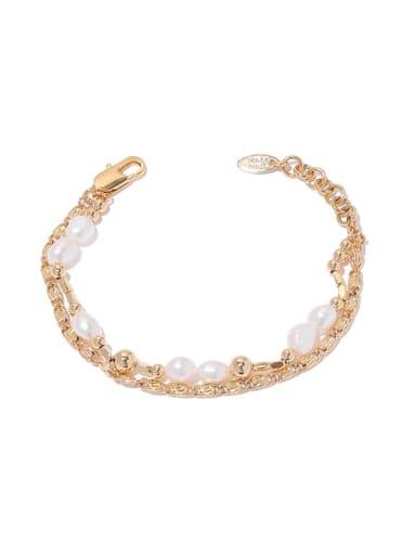 Brass Imitation Pearl Geometric Hip Hop Strand Bracelet