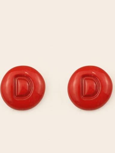 D Alloy Enamel Letter Minimalist Stud Earring