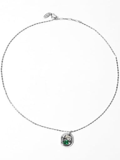 Emerald zircon Brass Cubic Zirconia Geometric Vintage Necklace