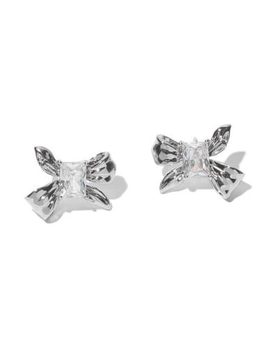 Transparent zircon Brass Cubic Zirconia Bowknot Minimalist Stud Earring
