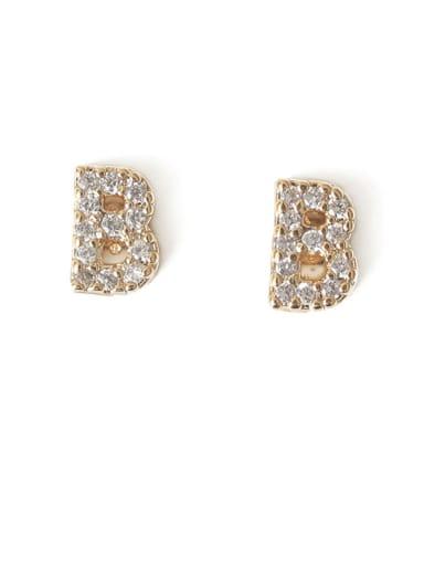 B Brass Cubic Zirconia Letter Minimalist Stud Earring
