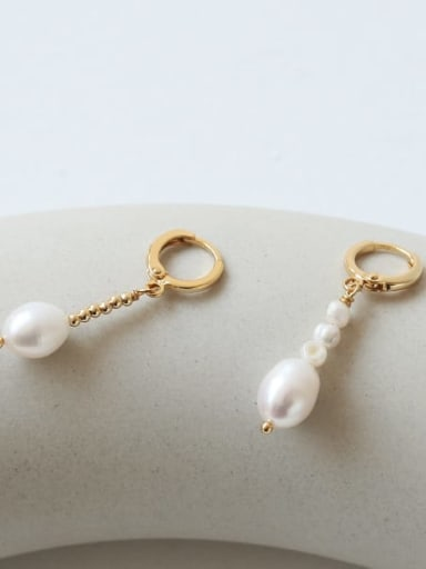 Brass Imitation Pearl Geometric Vintage Drop Earring