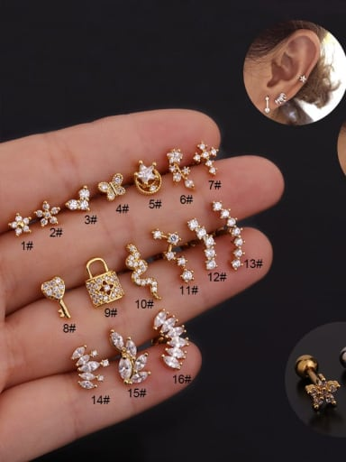 Copper With Cubic Zirconia White Key Dainty Stud Earring