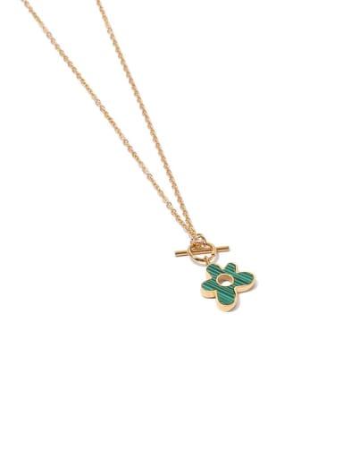 Brass Enamel Flower Hip Hop Necklace