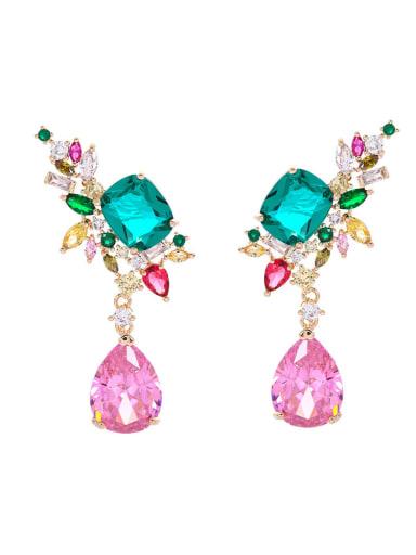Brass Cubic Zirconia Multi Color Geometric Luxury Drop Earring