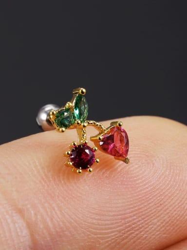 29 love cherry (single) Brass Cubic Zirconia Multi Color Friut Cute Stud Earring