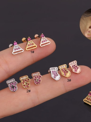 Brass with Cubic Zirconia Multi Color Geometric Dainty Stud Earring