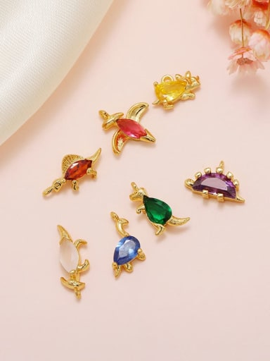Brass Cubic Zirconia Multi Color Small animals Cute Diy  Charms