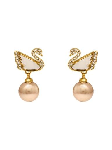 Brass Cubic Zirconia Swan Cute Stud Earring