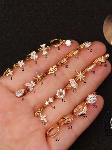 Copper whit Cubic Zirconia White Geometric Dainty Hoop Earring