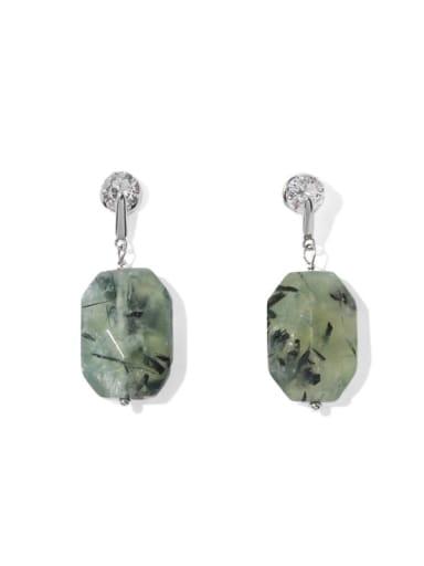 Platinum Brass Malchite Geometric Vintage Drop Earring