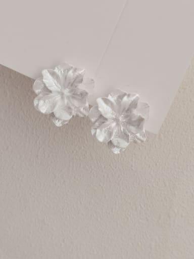 Brass Acrylic Flower Minimalist Stud Earring