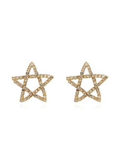 Copper Rhinestone Star Minimalist Stud Earring