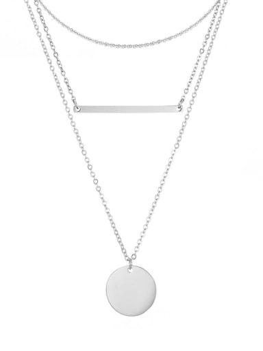 Stainless steel Minimalist Geometric  Pendant Multi Strand Necklace