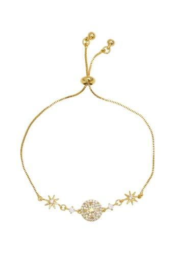 Copper zircon adjustable round bracelet