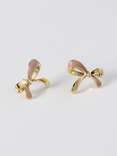 14k Gold light coffee Brass Enamel Bowknot Minimalist Stud Earring