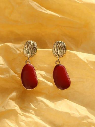 Brass Enamel Geometric Vintage Drop Earring
