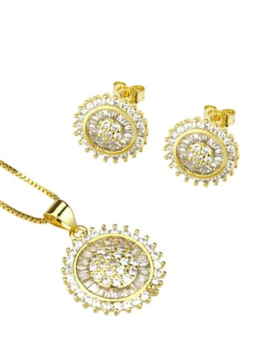 Gold plated white zirconium Brass Dainty Round Cubic Zirconia Earring and Necklace Set