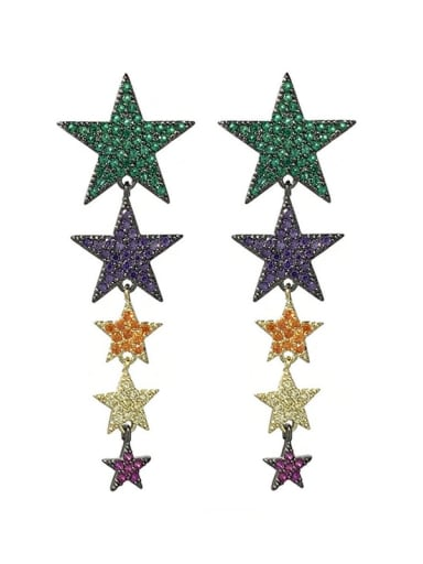 colour Brass Cubic Zirconia Star Statement Cluster Earring