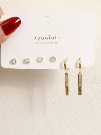 Brass Shell Geometric Minimalist Earring
