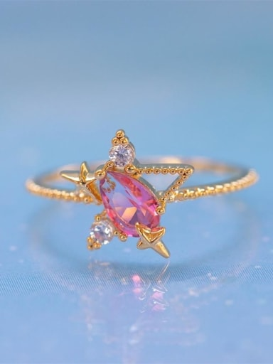 Star style Brass Cubic Zirconia Multi Color Star Moon Cute Band Ring
