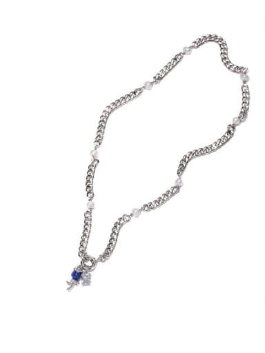 Brass Cubic Zirconia Rosary Vintage Tassel Necklace