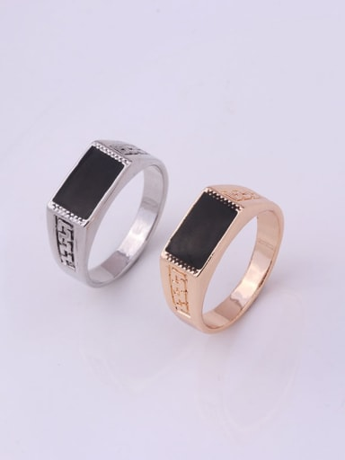 Zinc Alloy Enamel Geometric Vintage Band Ring