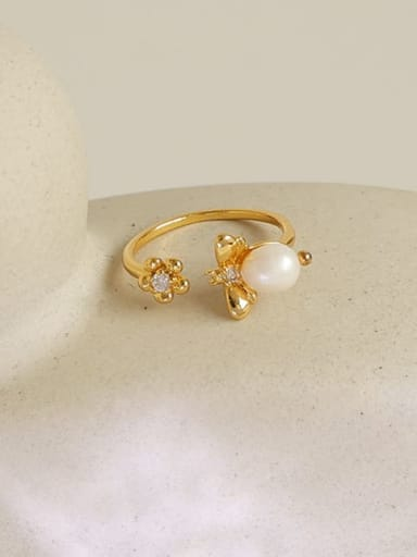 Brass Imitation Pearl Flower Hip Hop Band Ring