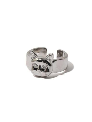Brass Cat Hip Hop Band Ring
