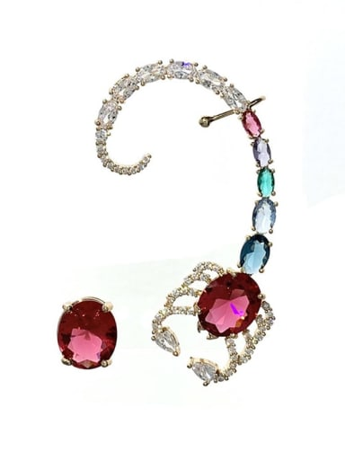 colour Brass Cubic Zirconia Irregular Vintage Cluster Earring