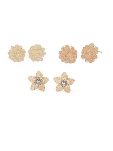 Brass Cubic Zirconia Round Ethnic Stud Earring