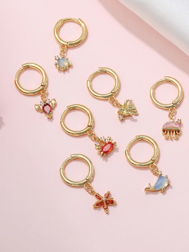 Brass Cubic Zirconia Multi Color Ocean animal Cute Huggie Earring