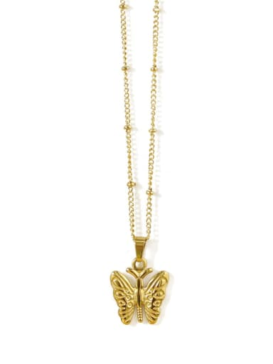 Golden narrow Butterfly Titanium Steel Butterfly Vintage Necklace