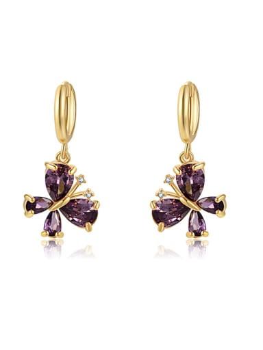 purple Brass Cubic Zirconia Multi Color Butterfly Minimalist Huggie Earring