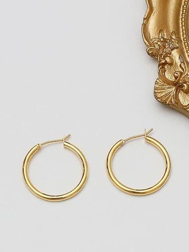 18K  gold 2.5 Brass Geometric Minimalist Hoop Earring