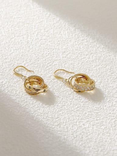 Brass Cubic Zirconia Geometric Minimalist Hook Earring