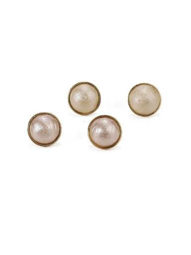 Brass Imitation Pearl Geometric Minimalist Stud Earring