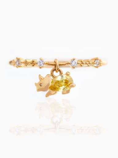 Yellow 18K Gold Brass Cubic Zirconia Multi Color Dragon Cute Band Ring