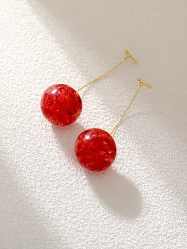 Brass Resin Friut Minimalist Drop Earring