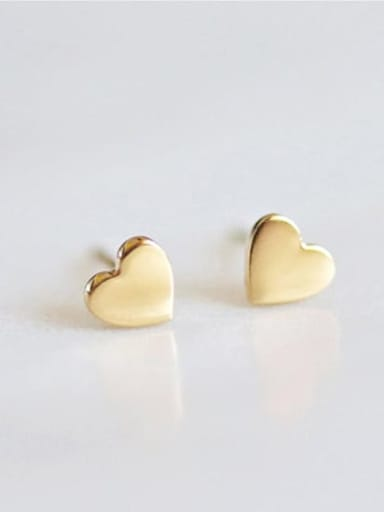 golden Stainless steel Heart Minimalist Stud Earring