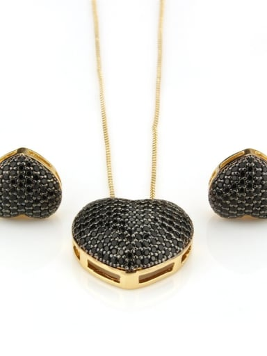 Gold Plated Black Brass Cubic Zirconia Dainty Heart Earring and Necklace Set