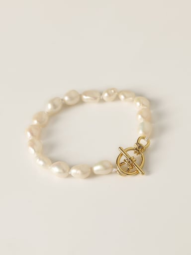 Brass Freshwater Pearl Geometric Minimalist Beaded Bracelet