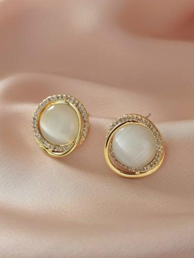Brass Cats Eye Geometric Minimalist Stud Earring