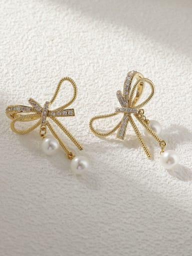 Brass Cubic Zirconia Butterfly Vintage Stud Earring
