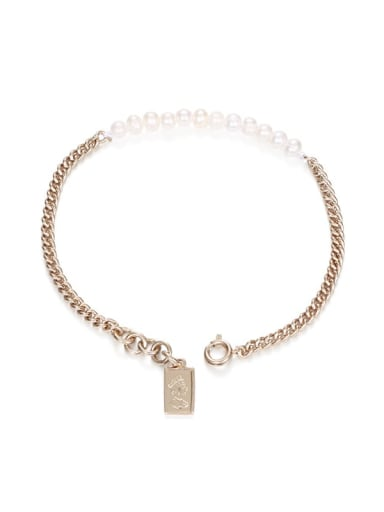 Brass Imitation Pearl Geometric Hip Hop Link Bracelet
