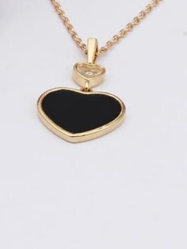 black Brass Shell Heart Minimalist Necklace