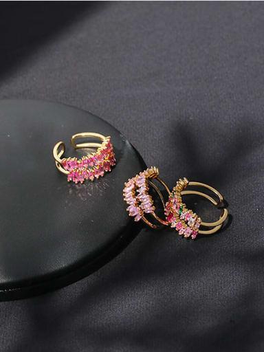 Brass Cubic Zirconia Geometric Minimalist Stackable Ring
